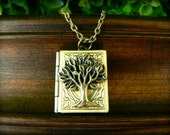 Book Locket with Brass Oak Tree Necklace