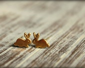 Tiny Bunny Earring Studs, Available in Raw Brass, Silver, and Rose Gold, Stainless Steel Posts