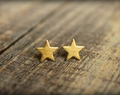 Small Star Earring Studs in Raw Brass, Stainless Steel Posts