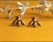 Bee Earrings in Aged Brass