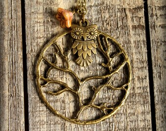 Perched Owl in Branches Necklace