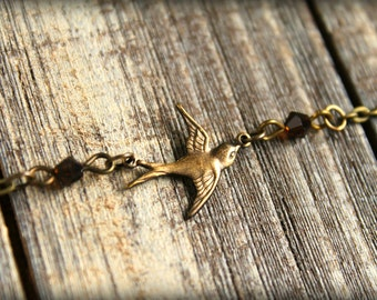 Brass Flying Sparrow Necklace