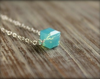 Swarovski Crystal Cube Necklace in Pacific Opal