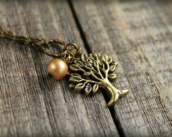 Oak Tree Necklace in Aged Brass