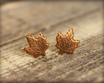 Maple Leaf Earring Posts in Antiqued Copper