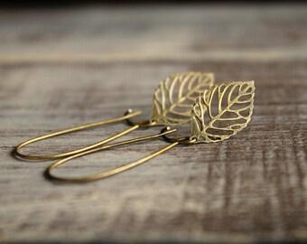 Skeleton Leaf Earrings in Antique Brass