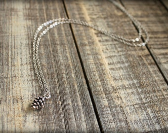 Tiny Pinecone Necklace in Silver