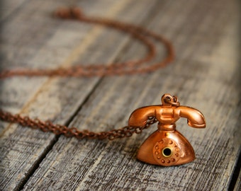 Vintage Telephone Necklace in Copper
