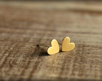 Itty Bitty Heart Earring Studs in Raw Brass, Stainless Steel Posts