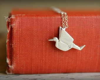 Origami Crane Necklace in Sterling Silver