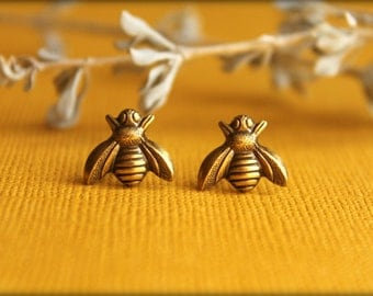 Bee Earrings in Aged Brass