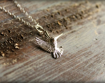 Sterling Silver Hummingbird Necklace, Bird in Flight