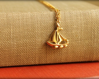 Sailboat Necklace, Available in Silver or Gold