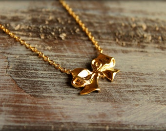 Bow Necklace - All Wrapped Up, Available in Silver and Gold