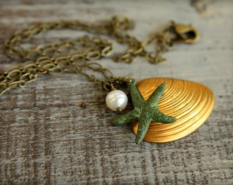 Brass Seashell & Verdigris Starfish Necklace