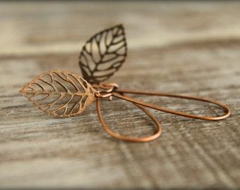Skeleton Leaf Earrings in Aged Copper