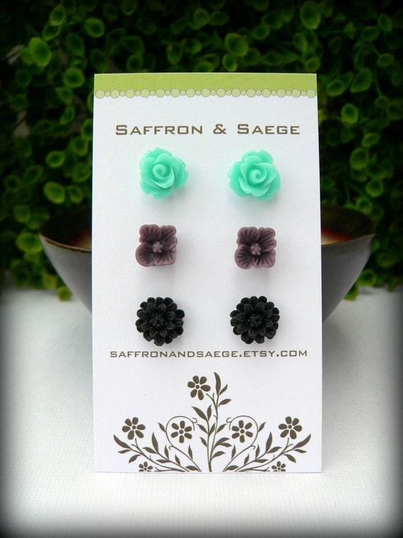 Flower Earring Studs Trio: Aquamarine Rose, Grape Sakura Blossom, Black Daisy