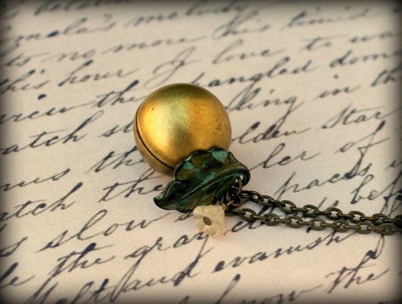 Vintage Brass Ball Locket Necklace with Verdigris Leaf and Czech Flower