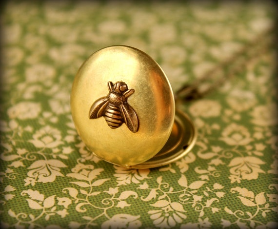 Brass Bee Locket Necklace, Smaller Bee Size