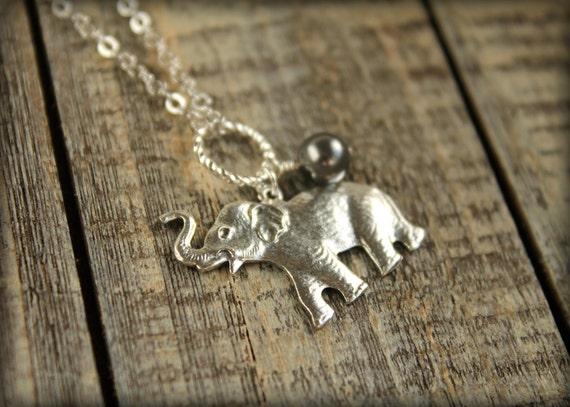 Roaring Elephant Necklace in Silver