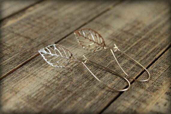 Skeleton Leaf Earrings in Silver