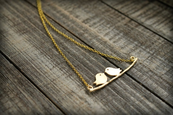 Lovebirds on a Branch Gold Necklace