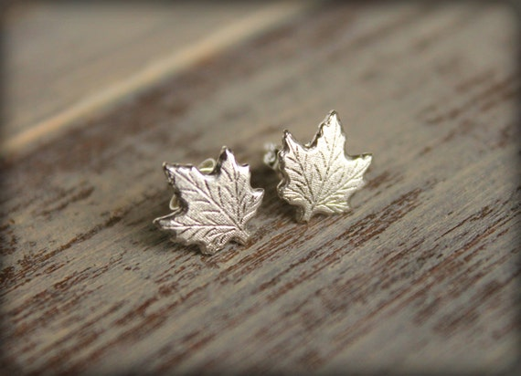 Maple Leaf Earring Posts in Antiqued Silver