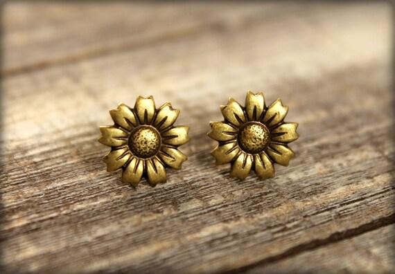 Sunflower Earring Posts in Aged Brass