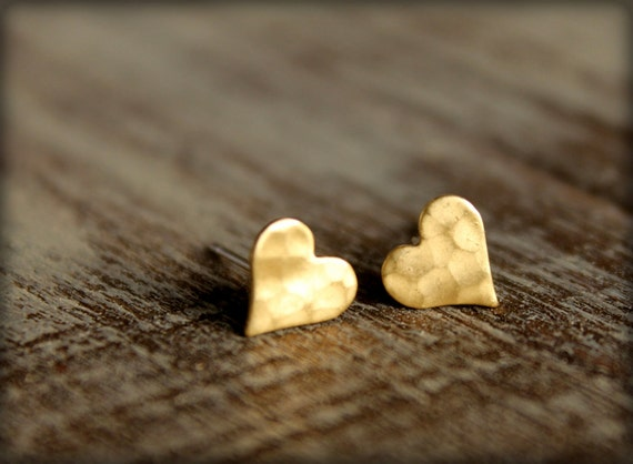 Hammered Heart Earring Studs in Raw Brass, Stainless Steel Posts