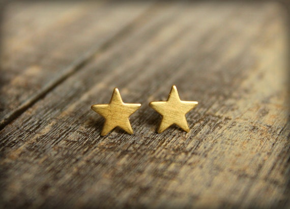 Small Star Earring Studs in Raw Brass, Stainless Steel Posts, Saffron and Saege