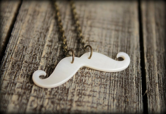 Mustache Necklace, Mother of Pearl