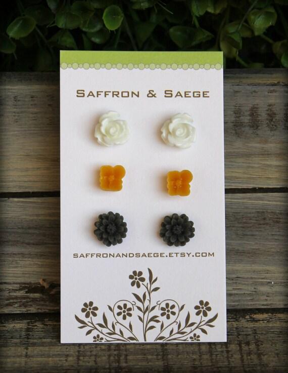 Flower Earring Studs Trio: White Rose, Mustard Sakura, Grey Daisy