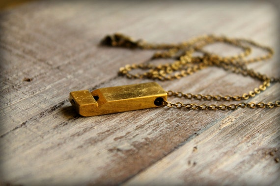 Vintage Brass Whistle Necklace