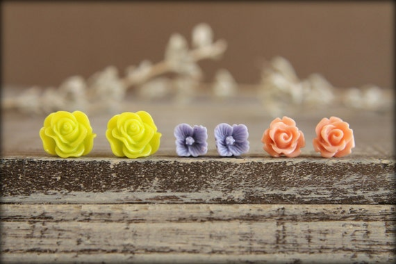 Flower Earring Studs Trio: Chartreuse Scrunch Rose, Lilac Sakura Blossom, Vintage Pink Rose