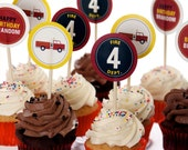 FIre Truck Party Printable Cupcake Toppers