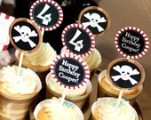 Printable Kids Pirate Birthday Cupcake Toppers or Tags-Stripes