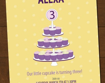 Cupcake Birthday Invitation Printable You choose colors