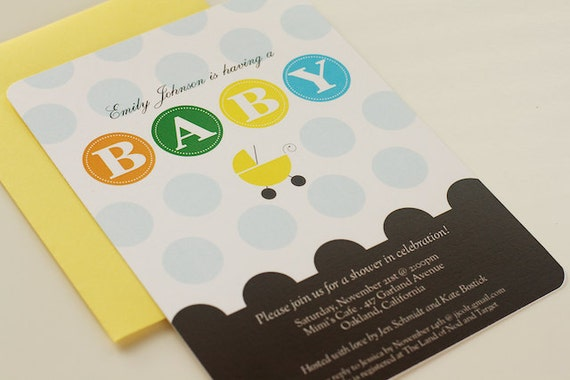 Printable Baby Shower Invitation Dots And Carriage Girl Boy Neutral Choice of Color
