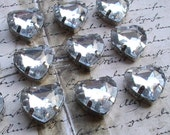 12pcs Rhinestone Acrylic Hearts Sliver Backing Clear Silver Metal Plastic Beads  Bead Jewelry Supplies Embellishments Mixed Media Beads