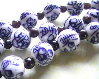 Porcelin Bead 12mm 7in Strand with Spacer Beads Asian Style Blue White