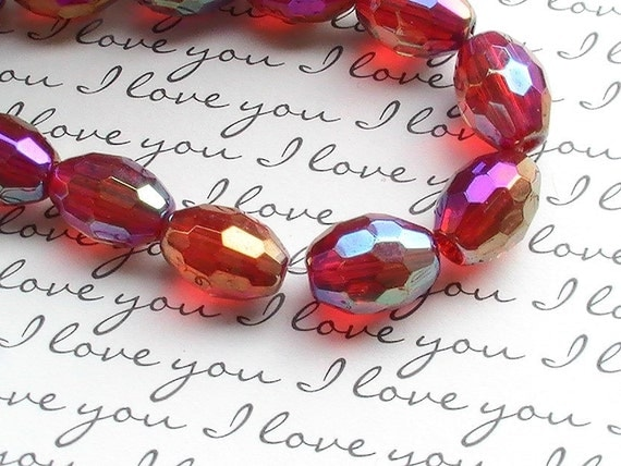 8 pcs Glass Beads 14x10mm Oval Bead Red Jewelry Supplies Beads AB Finish.