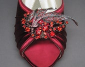 Scarlet Red Wedding Shoes -- Satin Peeptoes with Matching Red Rhinestone Adornment
