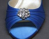 Blue Wedding Shoes -- Cornflower Blue Kitten Heels with Rhinestone Adornment