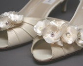 Ivory Wedding Shoes -- Ivory Satin Kitten Heels with Wedding Flower Details