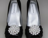 Custom Wedding Shoes -- Black Satin Peeptoes Platforms with Pearl and Rhinestone Adornment