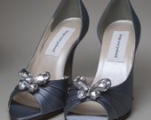 Custom Wedding Shoes -- Silver Peeptoes with Butterfly Rhinestone Adornment