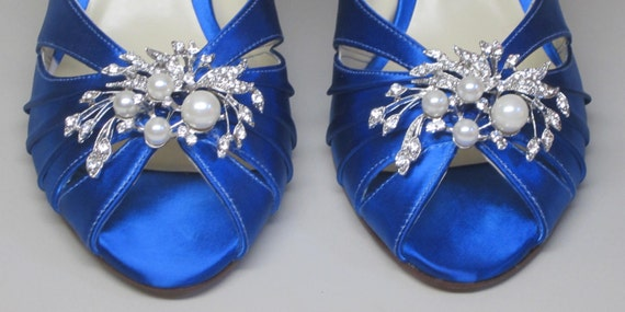 Royal Blue Wedding Heels: SAMPLE SALE Wedding Shoes Royal Blue Peeptoes Wedges With