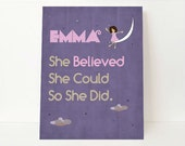 She Believe She Could So She Did - She Believed She Could Wall Art - Children's Art - Children Wall Art - Kids Room Art - Kids Room Decor