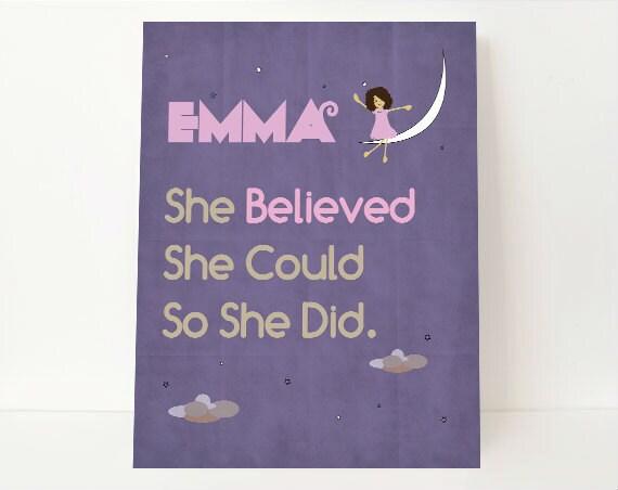 She Believe She Could So She Did - She Believed She Could Wall Art - Children's Art - Children Wall Art - Kids Room Art - Kids Room Decor
