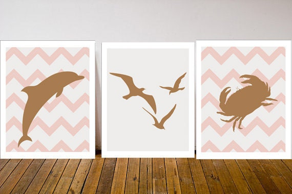 Pink and Taupe Nursery- Set of 3 Prints- Baby Girl Nursery- Ocean Nursery- Under the Sea Nursery Decor- Sea Nursery Decor- Nautical Chevron